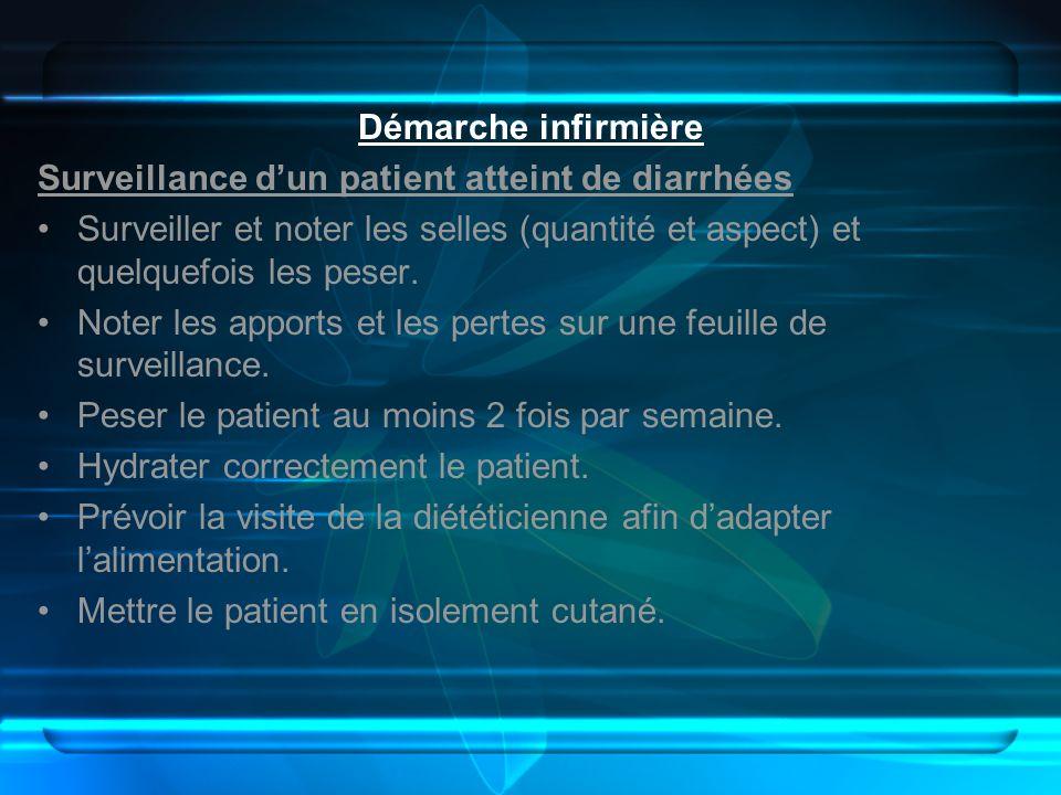 Démarche infirmière Surveillance d'un patient atteint de diarrhées. Surveiller et noter les selles (quantité et aspect) et quelquefois les peser.