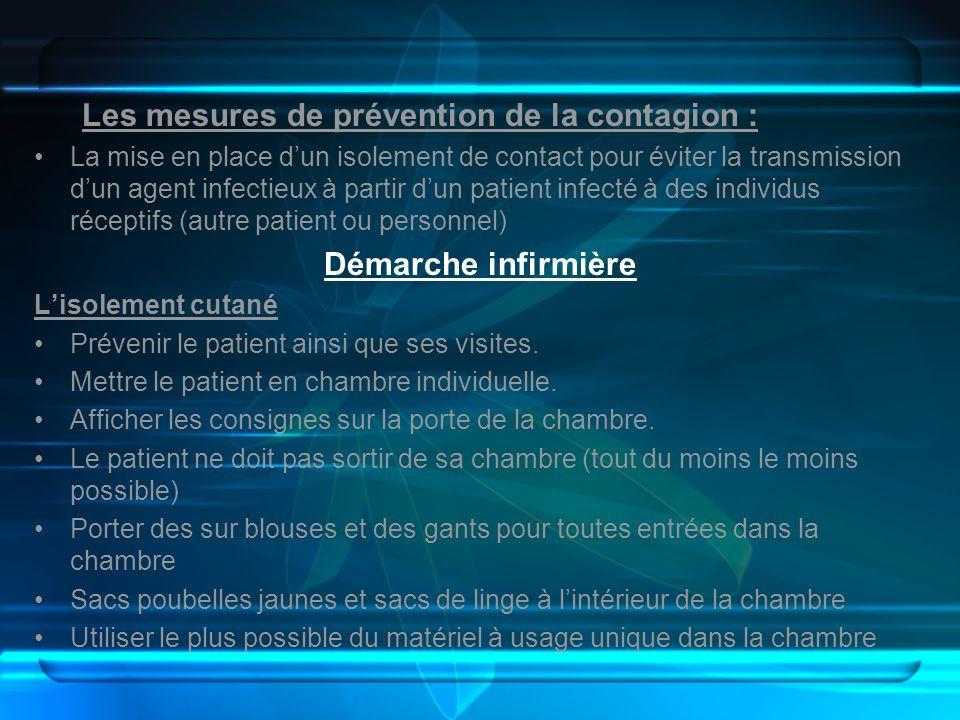 Les mesures de prévention de la contagion :