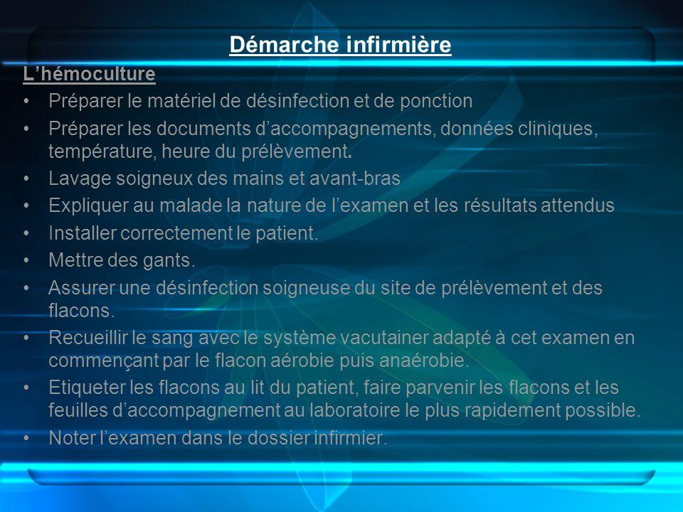 Démarche infirmière L'hémoculture