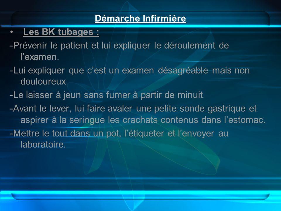 Démarche Infirmière Les BK tubages : -Prévenir le patient et lui expliquer le déroulement de l'examen.