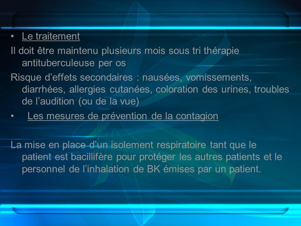 Le traitementIl doit être maintenu plusieurs mois sous tri thérapie antituberculeuse per os.
