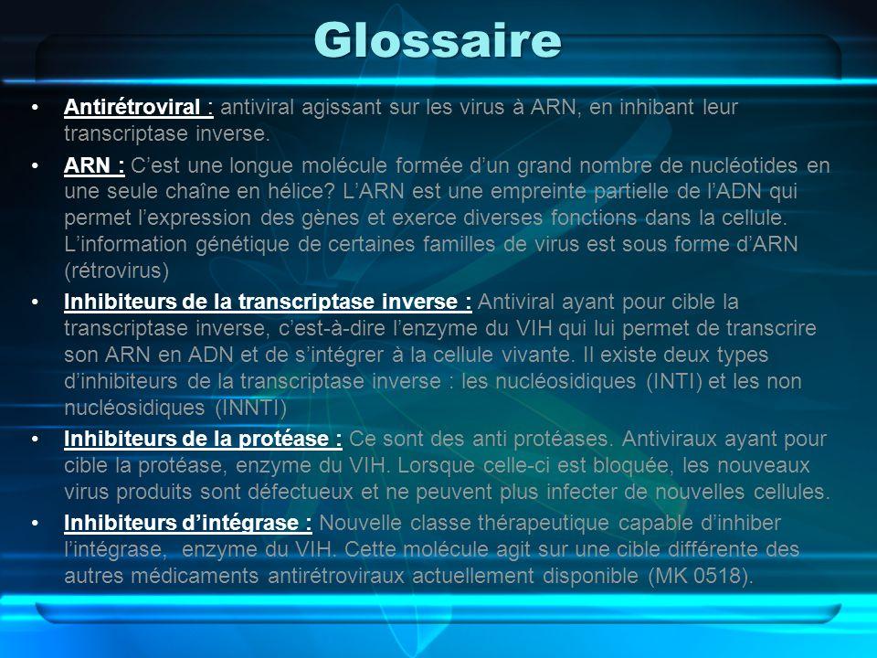 Glossaire Antirétroviral : antiviral agissant sur les virus à ARN, en inhibant leur transcriptase inverse.