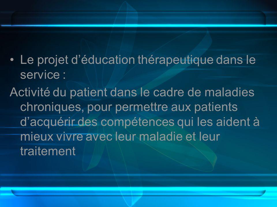 Le projet d'éducation thérapeutique dans le service :