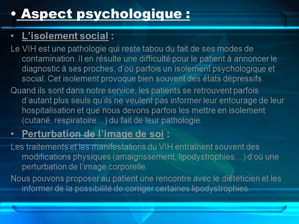 Aspect psychologique :
