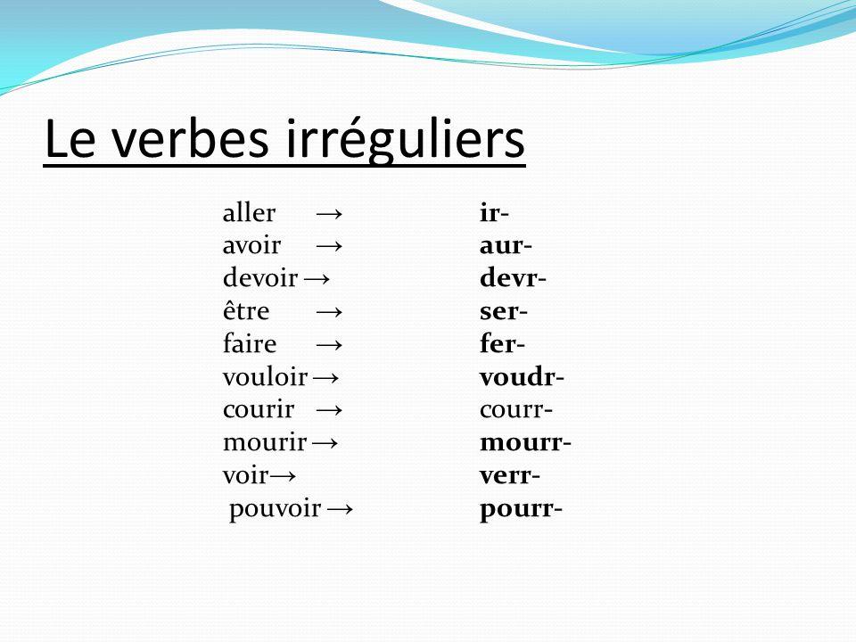 Le verbes irréguliers