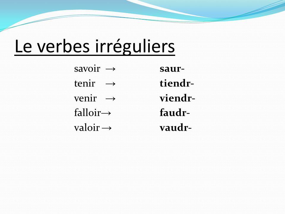 Le verbes irréguliers savoir → saur- tenir → tiendr- venir → viendr-