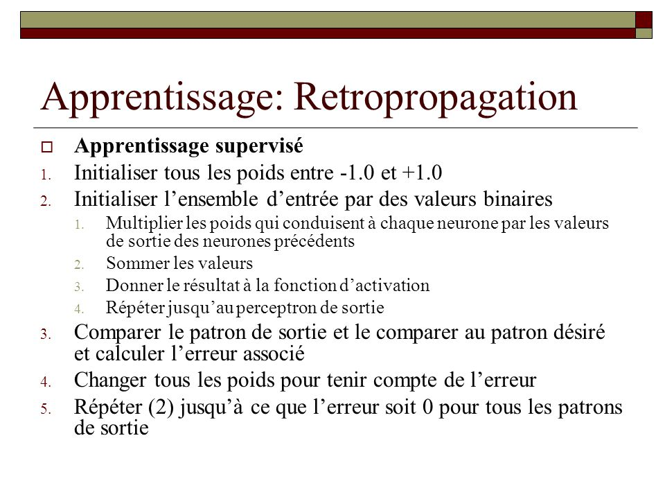 Apprentissage: Retropropagation