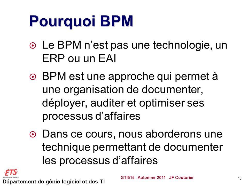 Pourquoi BPM Le BPM n'est pas une technologie, un ERP ou un EAI