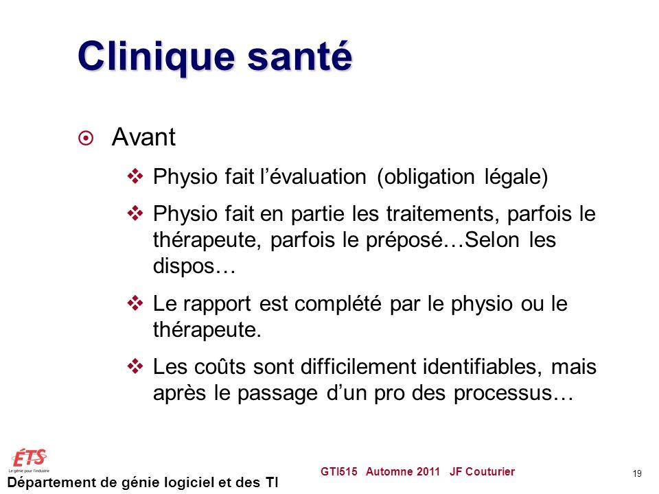 Clinique santé Avant Physio fait l'évaluation (obligation légale)
