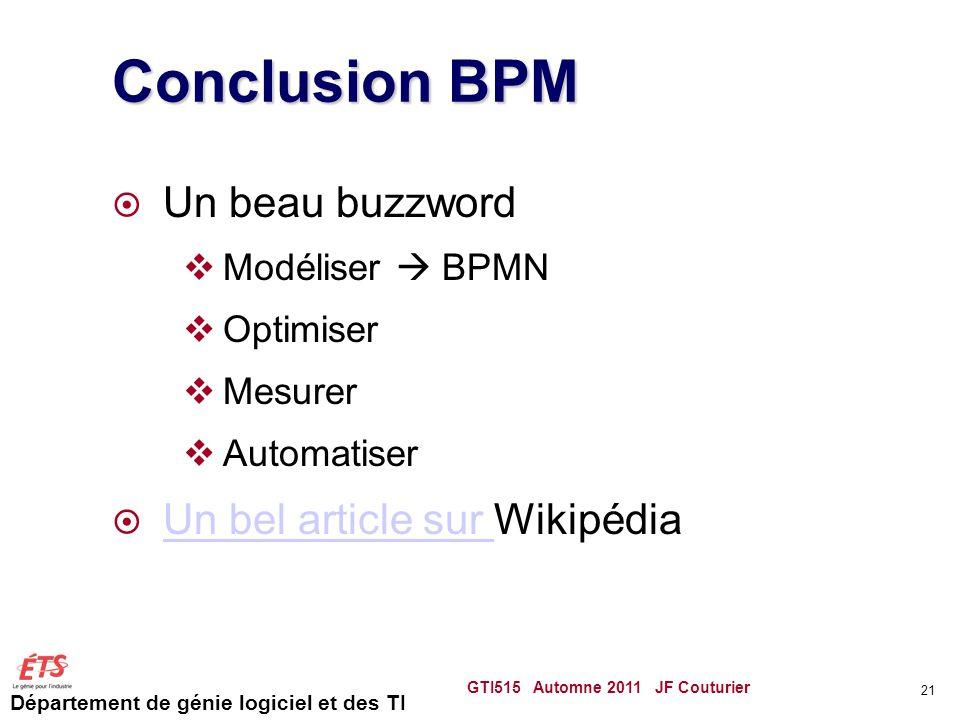 Conclusion BPM Un beau buzzword Un bel article sur Wikipédia