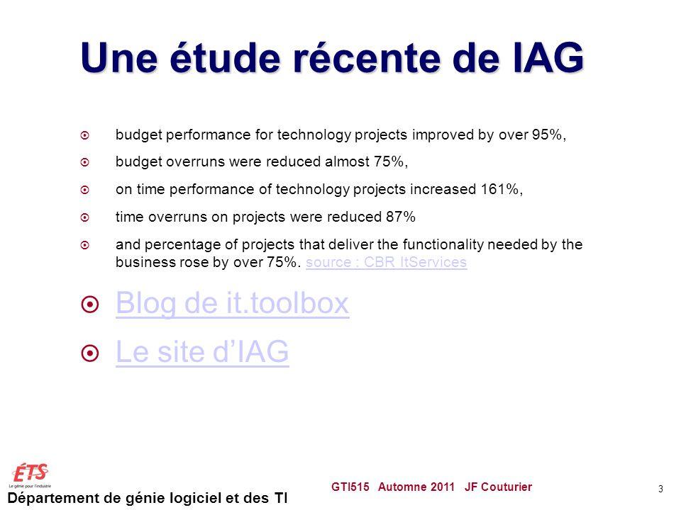 Une étude récente de IAG