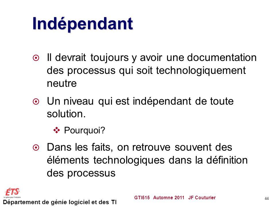 Indépendant Il devrait toujours y avoir une documentation des processus qui soit technologiquement neutre.