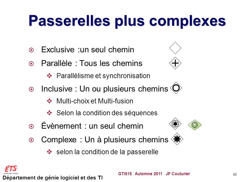 Passerelles plus complexes