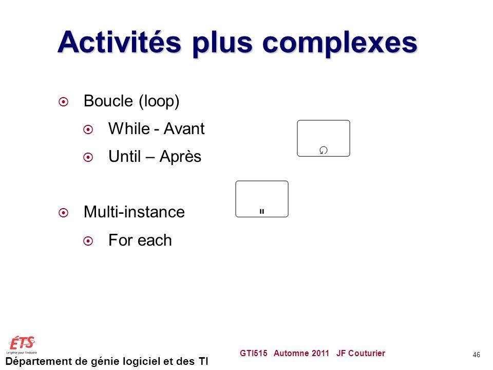 Activités plus complexes