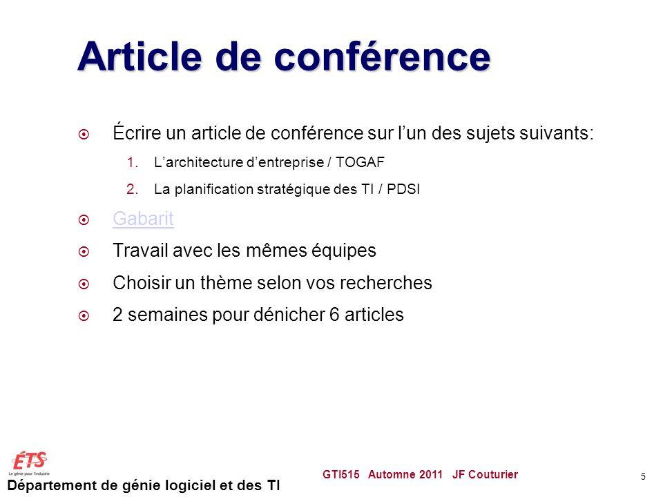 Article de conférence Écrire un article de conférence sur l'un des sujets suivants: L'architecture d'entreprise / TOGAF.