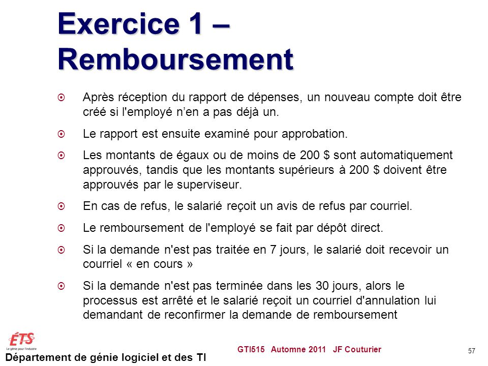 Exercice 1 – Remboursement
