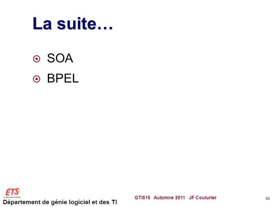La suite… SOA BPEL GTI515 Automne 2011 JF Couturier