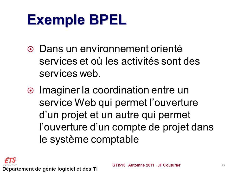 Exemple BPEL Dans un environnement orienté services et où les activités sont des services web.
