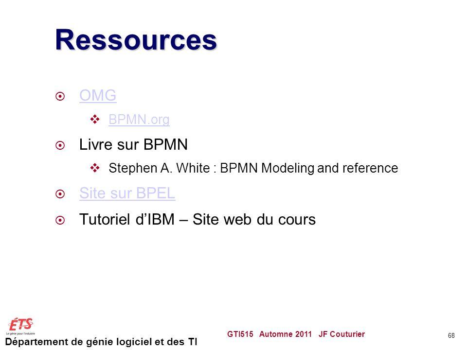 Ressources OMG Livre sur BPMN Site sur BPEL