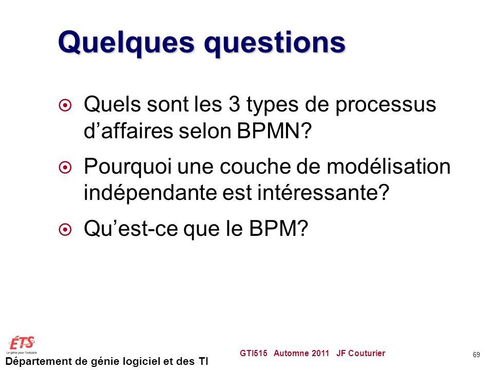 Quelques questions Quels sont les 3 types de processus d'affaires selon BPMN Pourquoi une couche de modélisation indépendante est intéressante