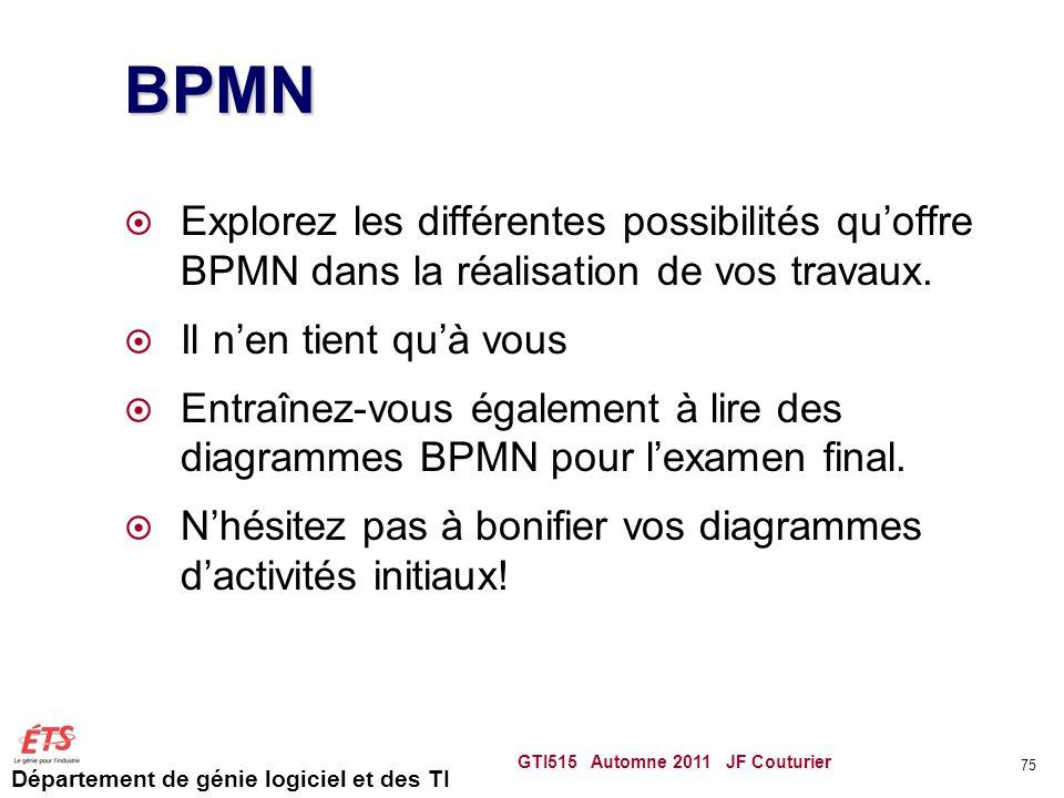 BPMN Explorez les différentes possibilités qu'offre BPMN dans la réalisation de vos travaux. Il n'en tient qu'à vous.