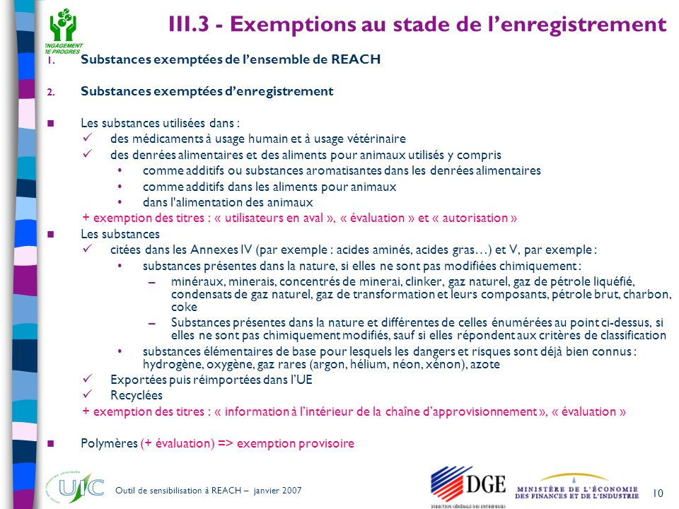 III.3 - Exemptions au stade de l'enregistrement