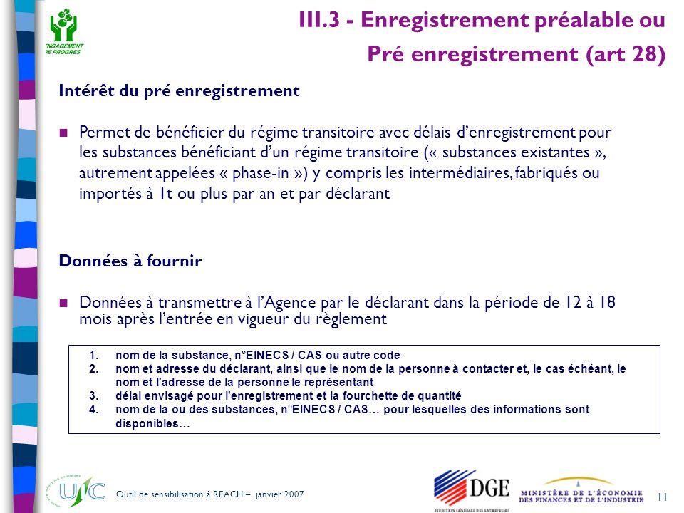 III.3 - Enregistrement préalable ou Pré enregistrement (art 28)