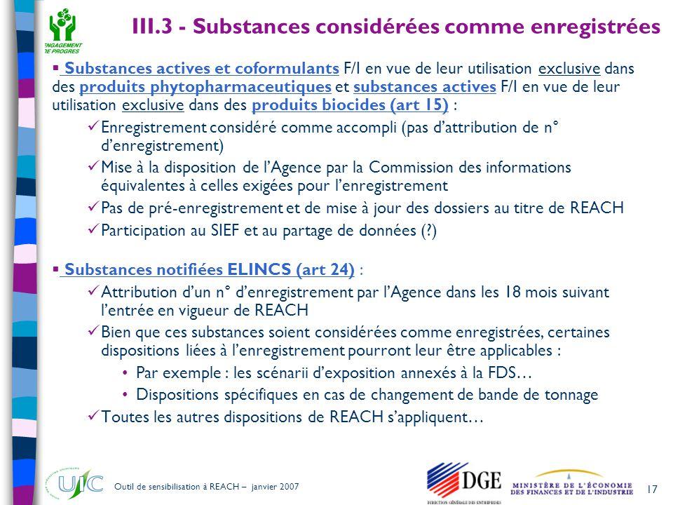 III.3 - Substances considérées comme enregistrées