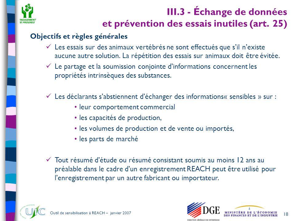 III.3 - Échange de données et prévention des essais inutiles (art. 25)