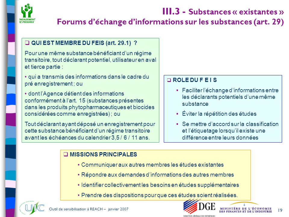 III.3 - Substances « existantes » Forums d'échange d'informations sur les substances (art. 29)