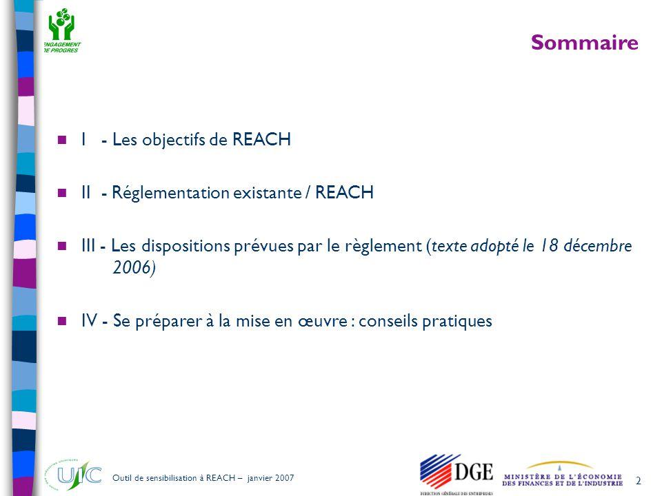 Sommaire I - Les objectifs de REACH