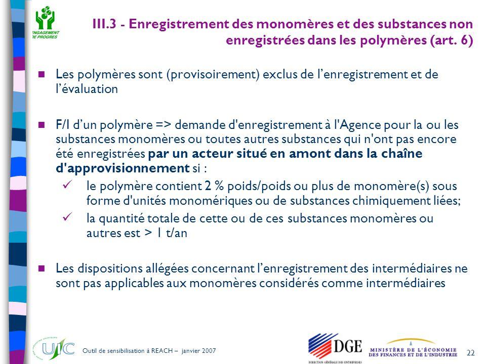 III.3 - Enregistrement des monomères et des substances non enregistrées dans les polymères (art. 6)