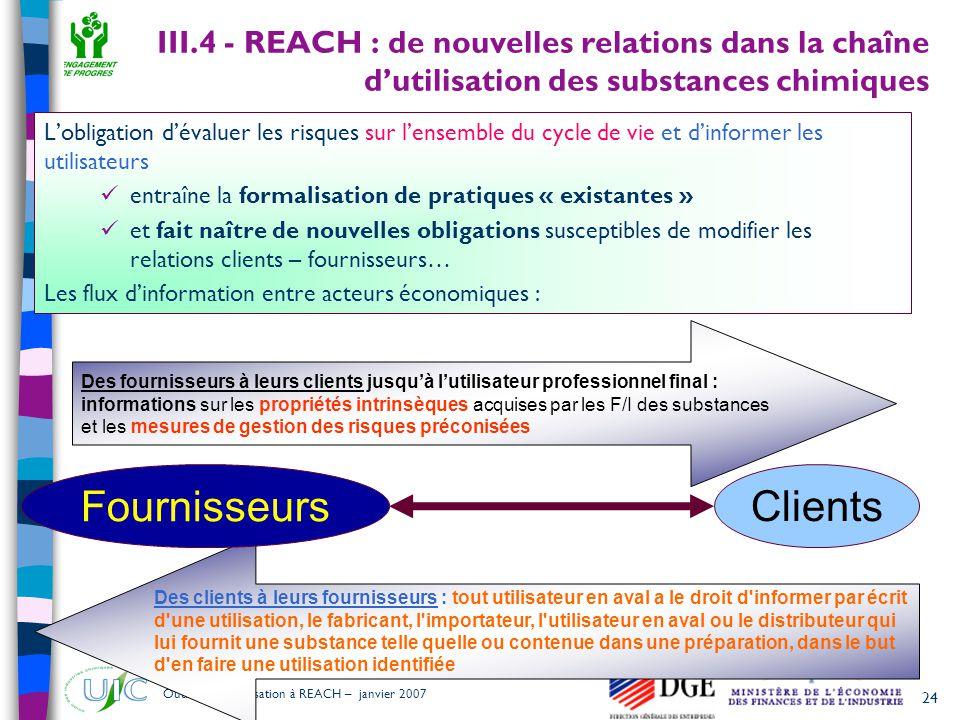 III.4 - REACH : de nouvelles relations dans la chaîne d'utilisation des substances chimiques