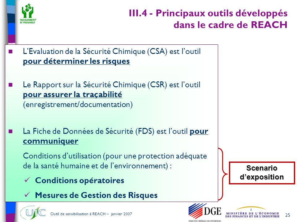 III.4 - Principaux outils développés dans le cadre de REACH