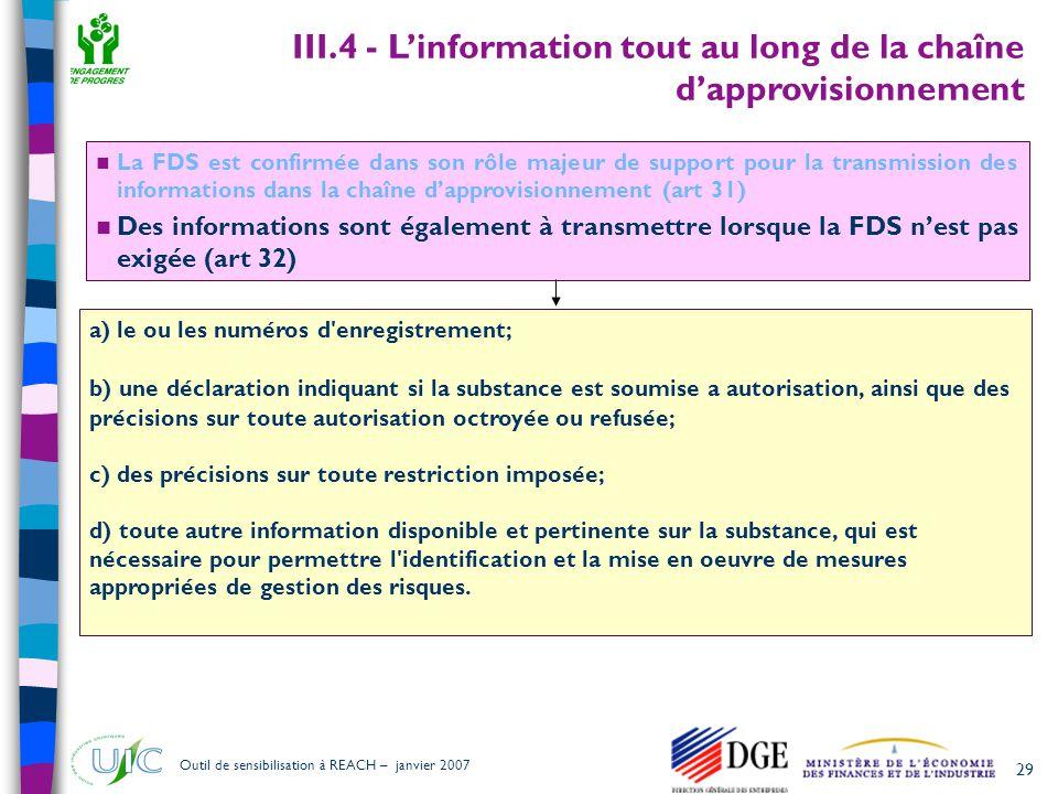 III.4 - L'information tout au long de la chaîne d'approvisionnement