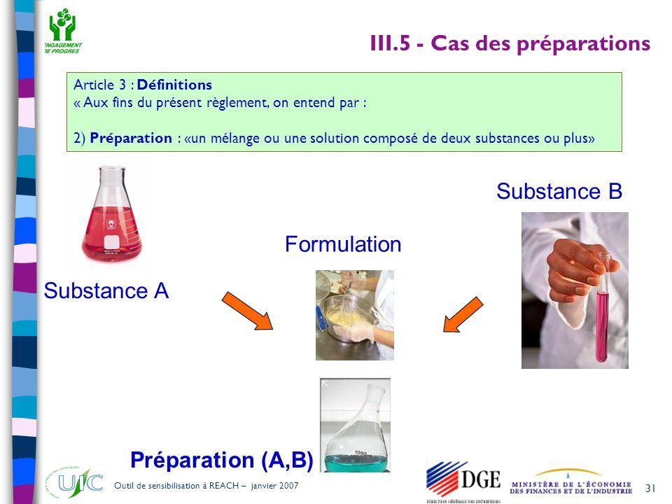 III.5 - Cas des préparations