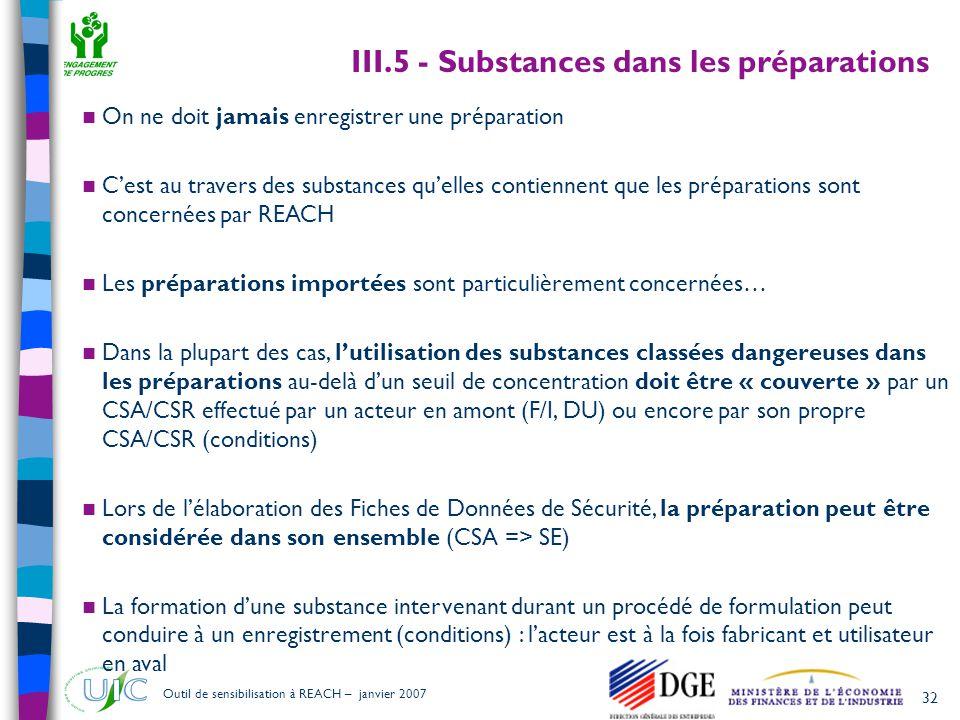 III.5 - Substances dans les préparations