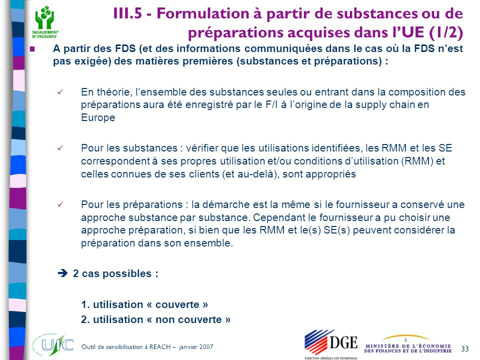 III.5 - Formulation à partir de substances ou de préparations acquises dans l'UE (1/2)