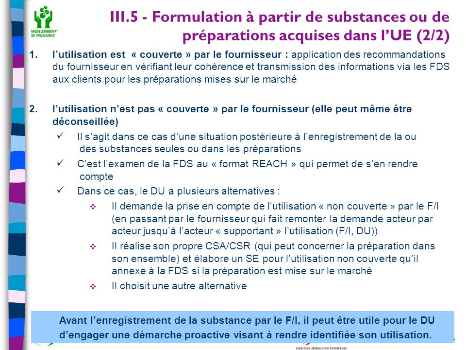 III.5 - Formulation à partir de substances ou de préparations acquises dans l'UE (2/2)