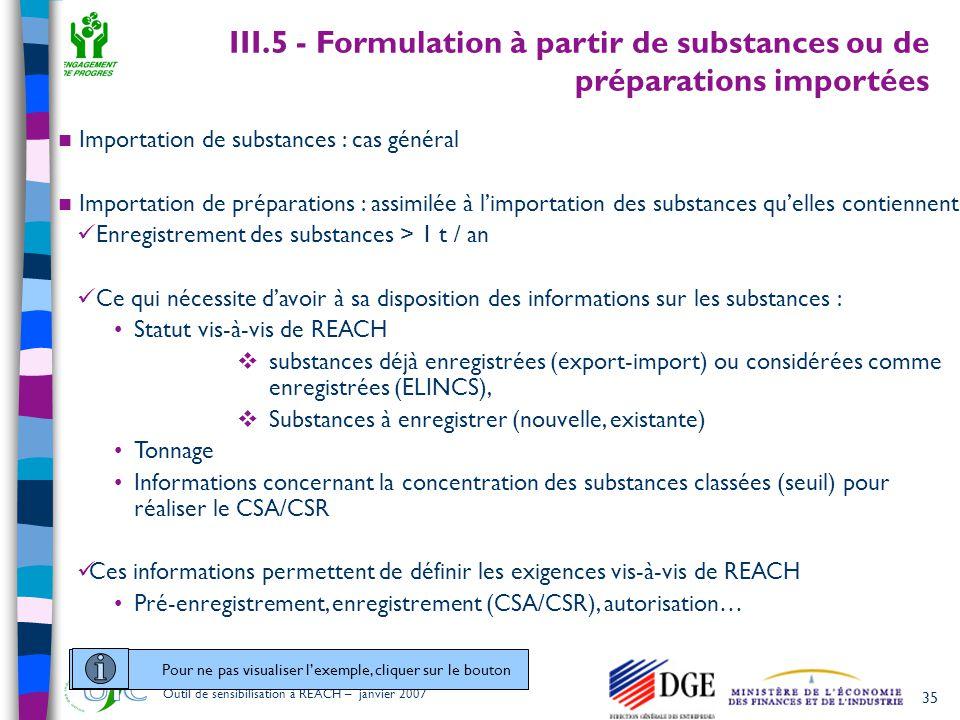 III.5 - Formulation à partir de substances ou de préparations importées