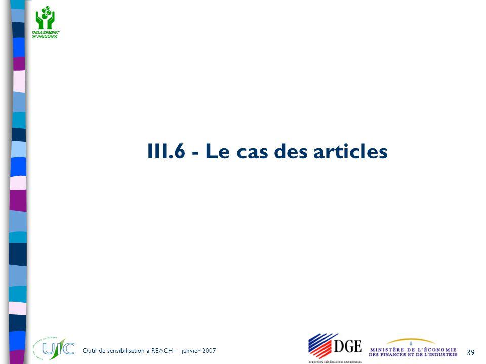 III.6 - Le cas des articles