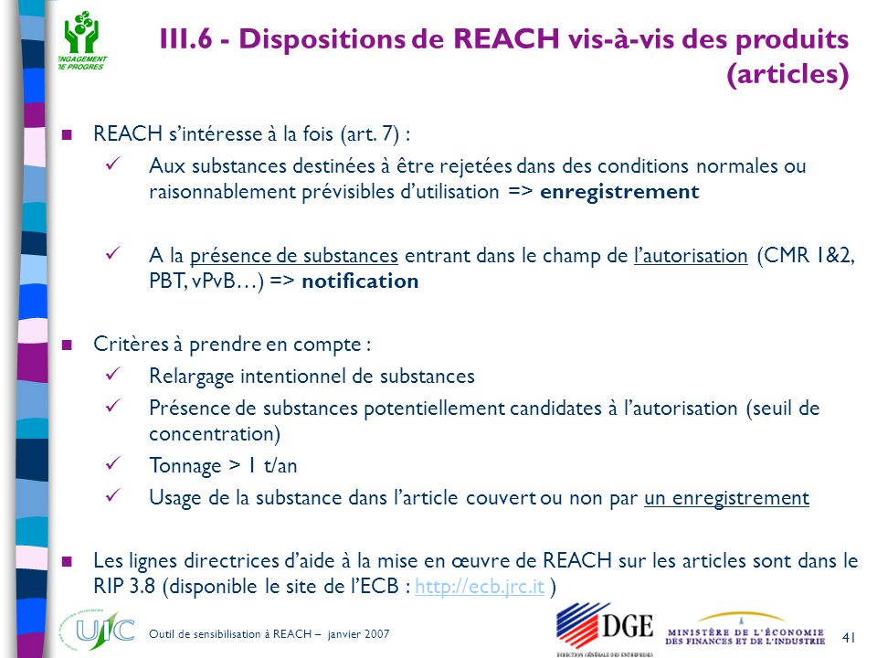 III.6 - Dispositions de REACH vis-à-vis des produits (articles)