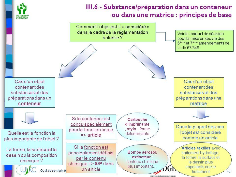 III.6 - Substance/préparation dans un conteneur ou dans une matrice : principes de base