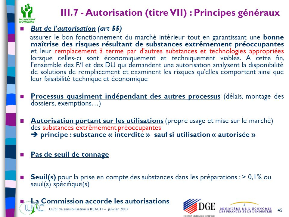 III.7 - Autorisation (titre VII) : Principes généraux