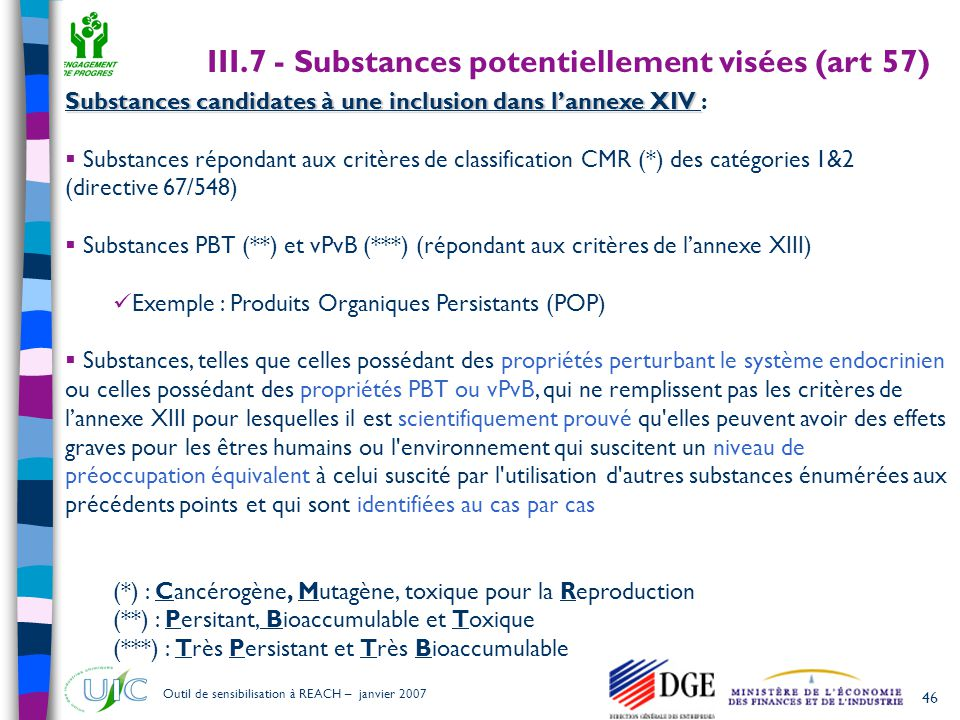 III.7 - Substances potentiellement visées (art 57)