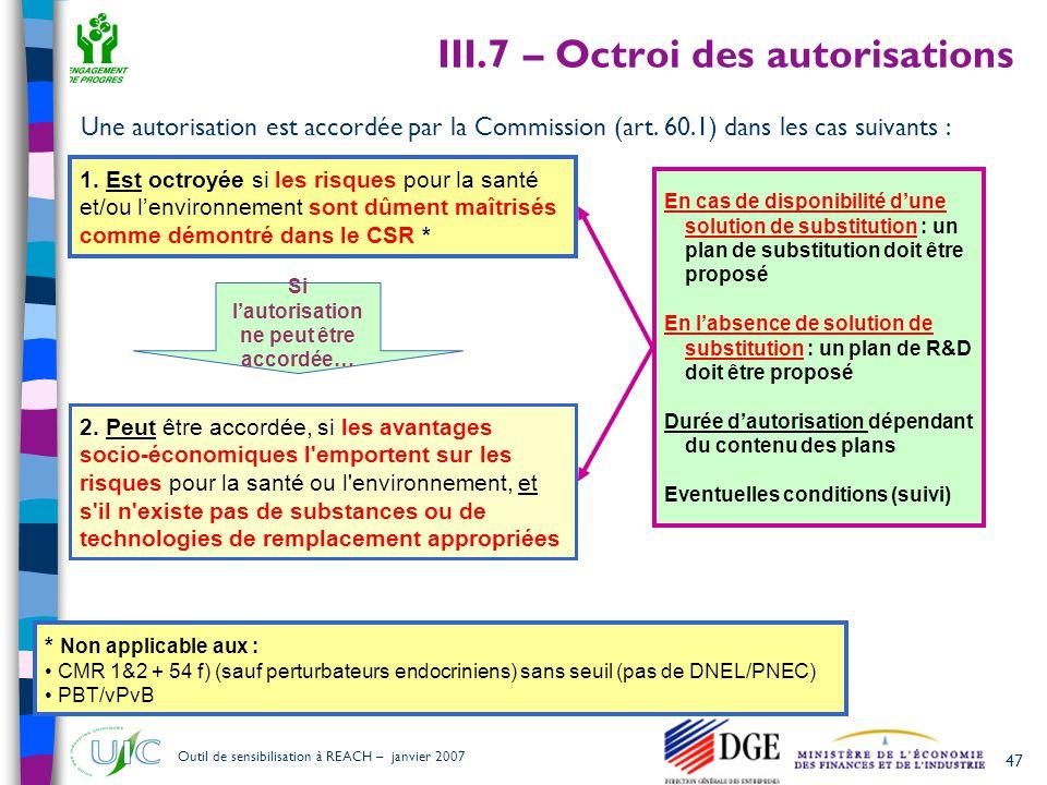III.7 – Octroi des autorisations