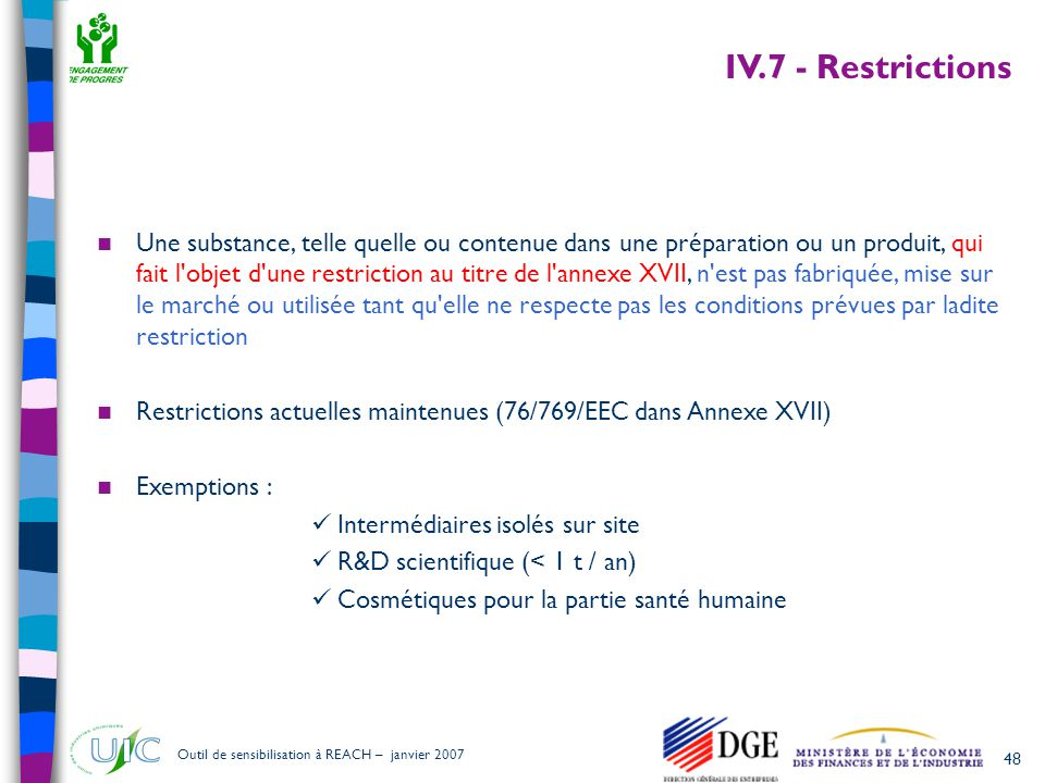 IV.7 - Restrictions