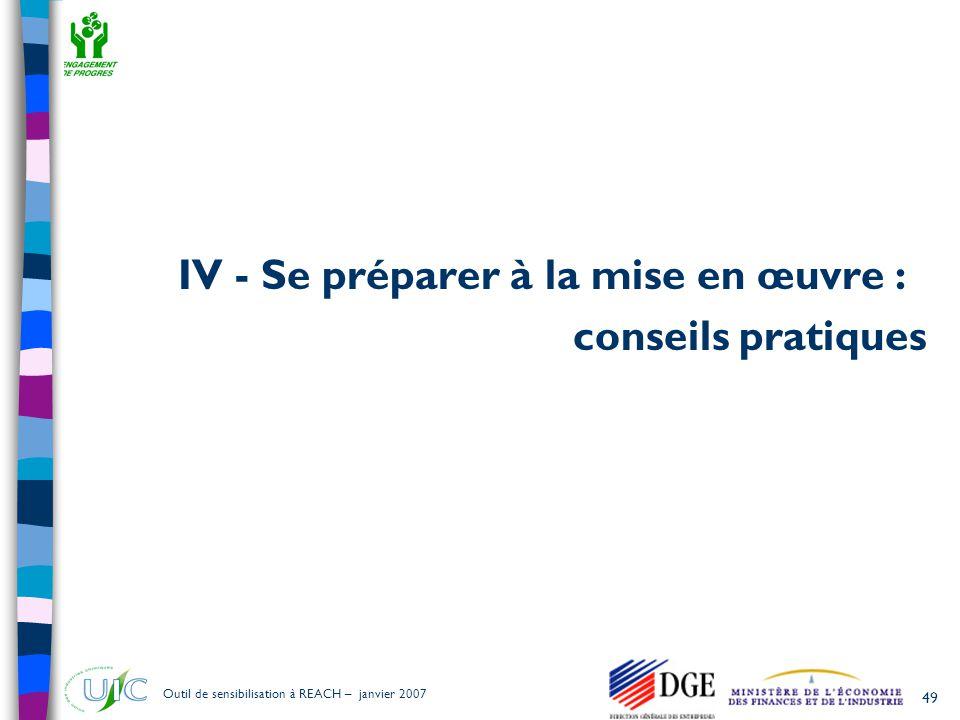 IV - Se préparer à la mise en œuvre :