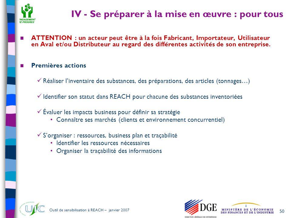 IV - Se préparer à la mise en œuvre : pour tous