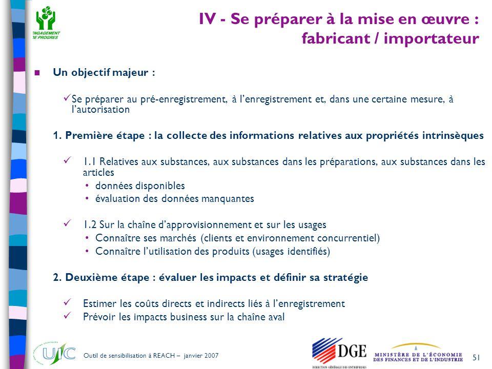 IV - Se préparer à la mise en œuvre : fabricant / importateur
